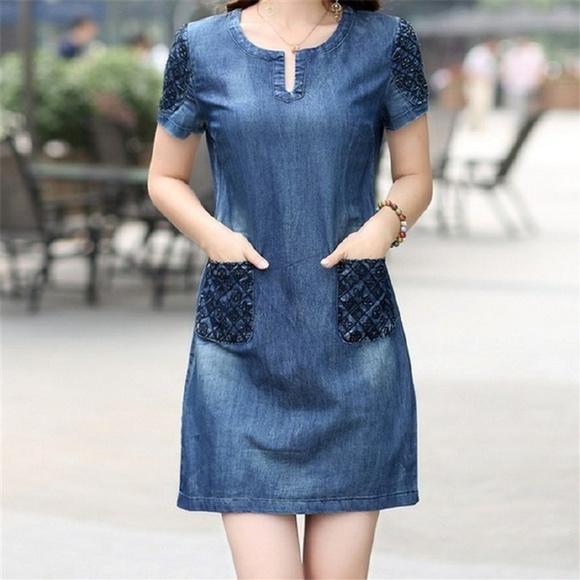 Dinglingling Dresses Plus Size Blue Short Denim Dress Poshmark